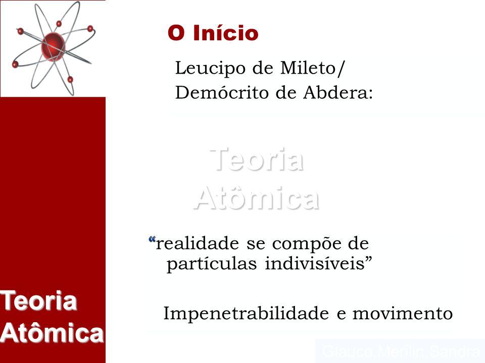 Glauco,Merilin,Sandra Teoria Atômica Leucipo de Mileto/ Demócrito de Abdera: O Início realidade se compõe de partículas indivisíveisrealidade se compõ