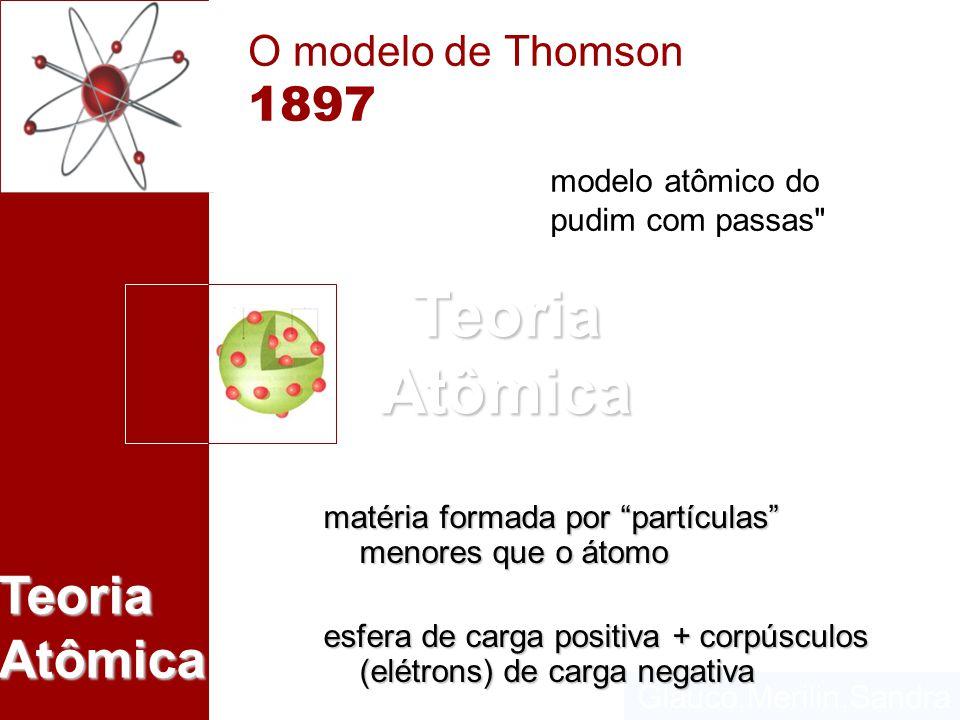 Glauco,Merilin,Sandra Teoria Atômica O modelo de Thomson 1897 matéria formada por partículas menores que o átomo esfera de carga positiva + corpúsculo