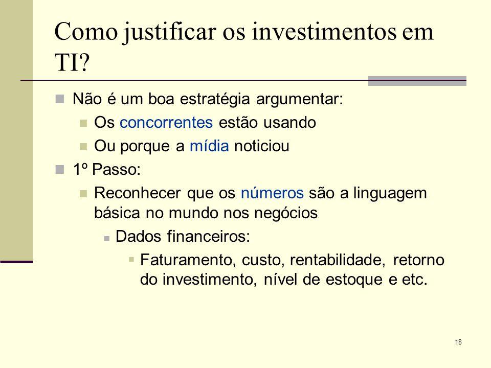 17 Como justificar os investimentos em TI, se muitas empresas não tem essa visão?