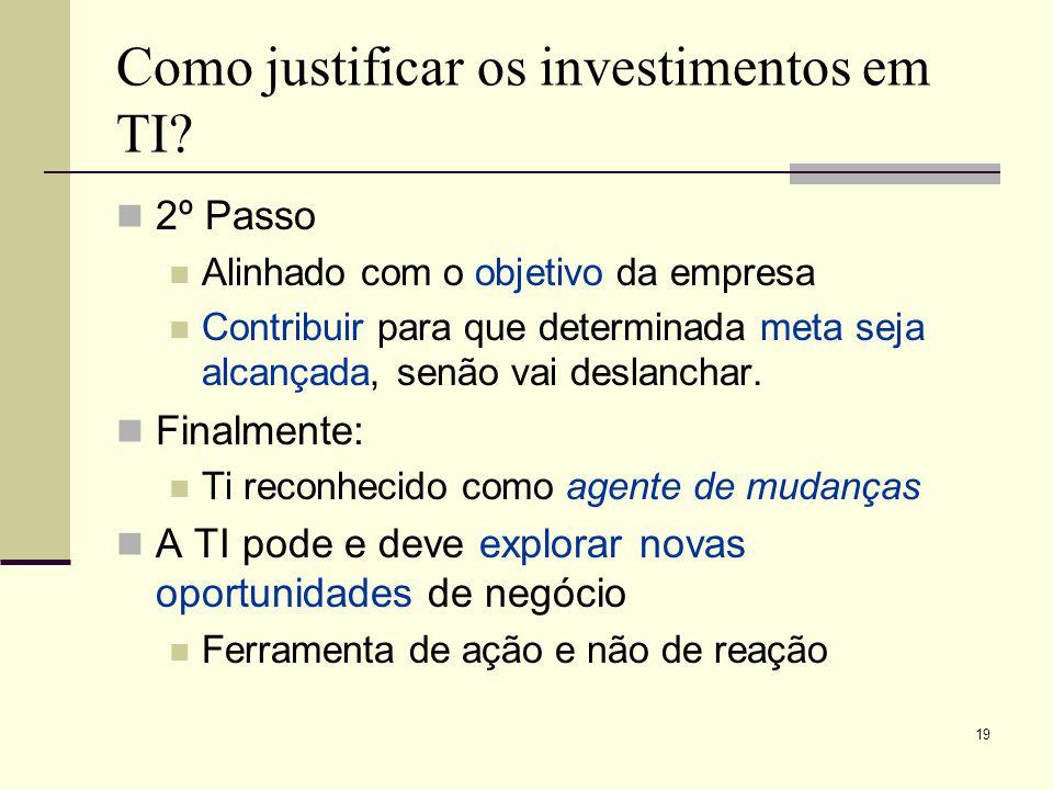 18 Como justificar os investimentos em TI? Não é um boa estratégia argumentar: Os concorrentes estão usando Ou porque a mídia noticiou 1º Passo: Recon