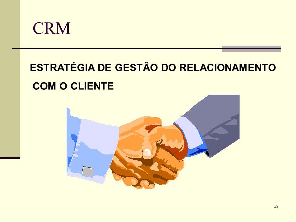 38 CRM –Customer Relationship Management Poucas empresas conhecem seus clientes com essa profundidade Pesquisa no mercado norte-americano Em 5 anos a
