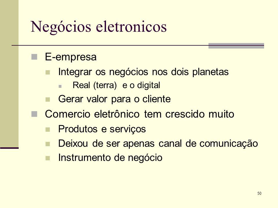 49 Negócios eletronicos (e-business) Eletronic commerce (e-commerce) Compra e venda de bens e serviços eletronicamente Eletronic business (e-business)
