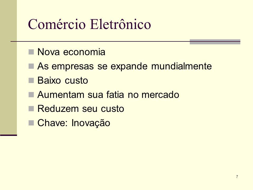 7 Comércio Eletrônico Nova economia As empresas se expande mundialmente Baixo custo Aumentam sua fatia no mercado Reduzem seu custo Chave: Inovação