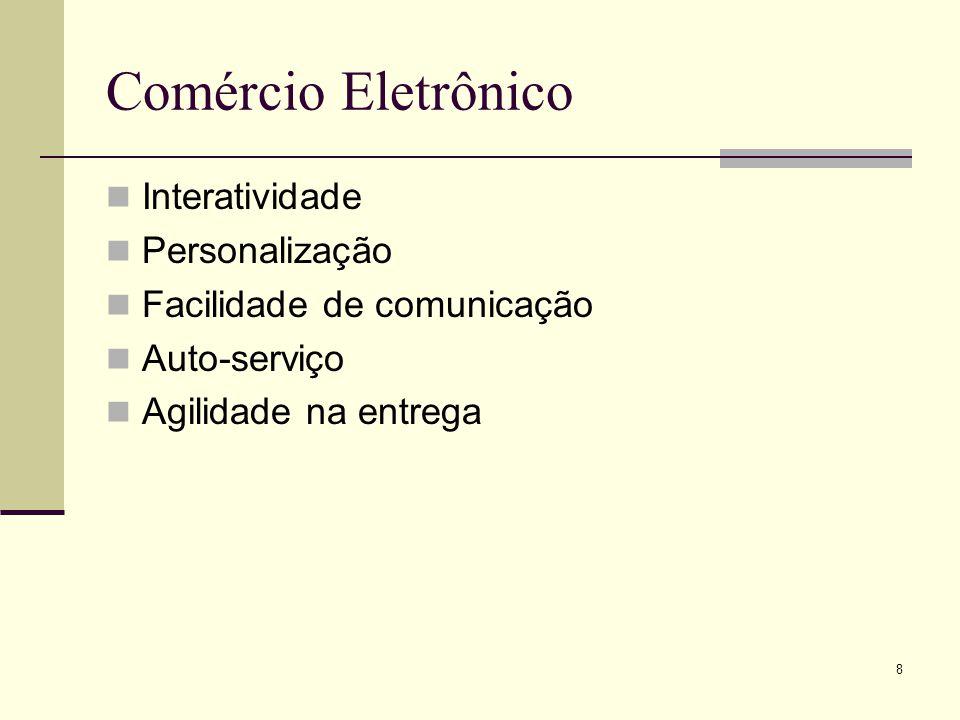 8 Comércio Eletrônico Interatividade Personalização Facilidade de comunicação Auto-serviço Agilidade na entrega