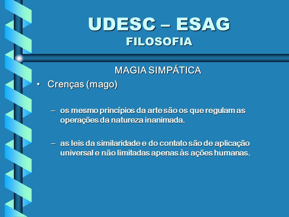 UDESC – ESAG FILOSOFIA MAGIA SIMPÁTICA Crenças (mago)Crenças (mago) –os mesmo princípios da arte são os que regulam as operações da natureza inanimada.