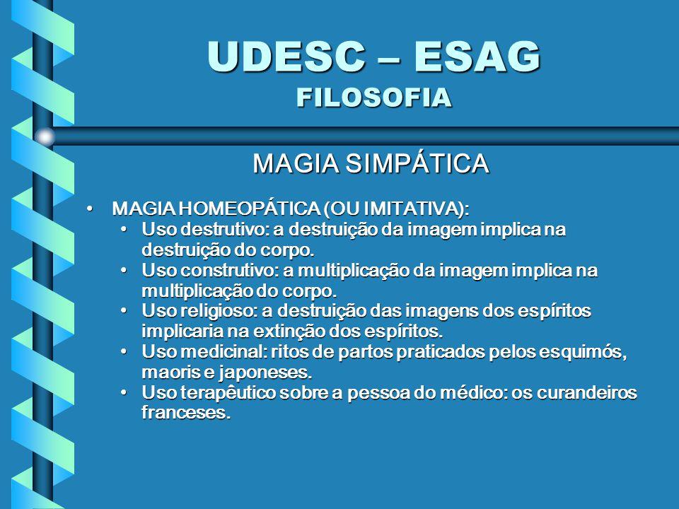 UDESC – ESAG FILOSOFIA MAGIA SIMPÁTICA MAGIA HOMEOPÁTICA (OU IMITATIVA):MAGIA HOMEOPÁTICA (OU IMITATIVA): Uso destrutivo: a destruição da imagem implica na destruição do corpo.Uso destrutivo: a destruição da imagem implica na destruição do corpo.
