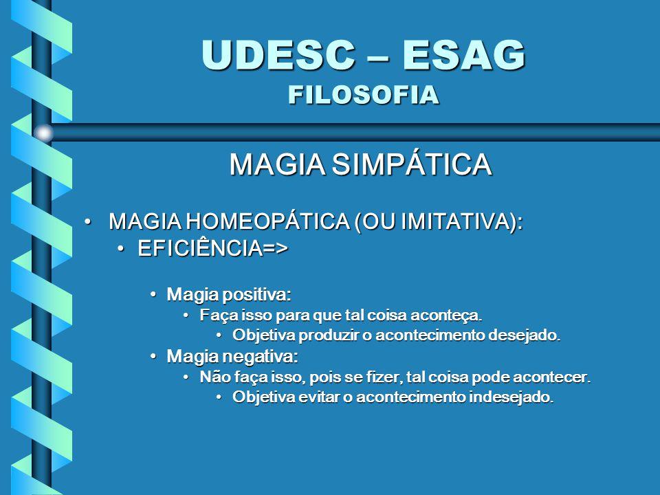 UDESC – ESAG FILOSOFIA MAGIA SIMPÁTICA MAGIA HOMEOPÁTICA (OU IMITATIVA):MAGIA HOMEOPÁTICA (OU IMITATIVA): EFICIÊNCIA=>EFICIÊNCIA=> Magia positiva:Magia positiva: Faça isso para que tal coisa aconteça.Faça isso para que tal coisa aconteça.