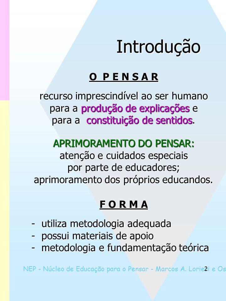 NEP - Núcleo de Educação para o Pensar - Marcos A. Lorieri e Oswaldo Marques 2 Introdução O P E N S A R O P E N S A R recurso imprescindível ao ser hu