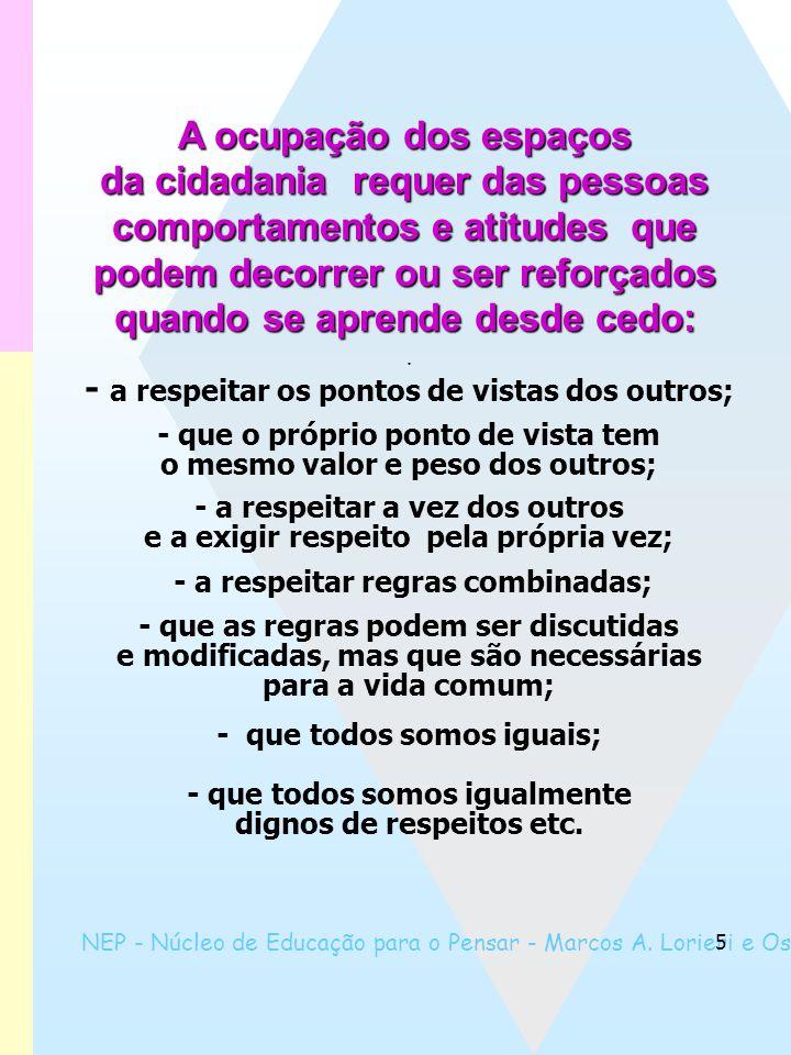 NEP - Núcleo de Educação para o Pensar - Marcos A. Lorieri e Oswaldo Marques 5 - a respeitar os pontos de vistas dos outros; - que o próprio ponto de