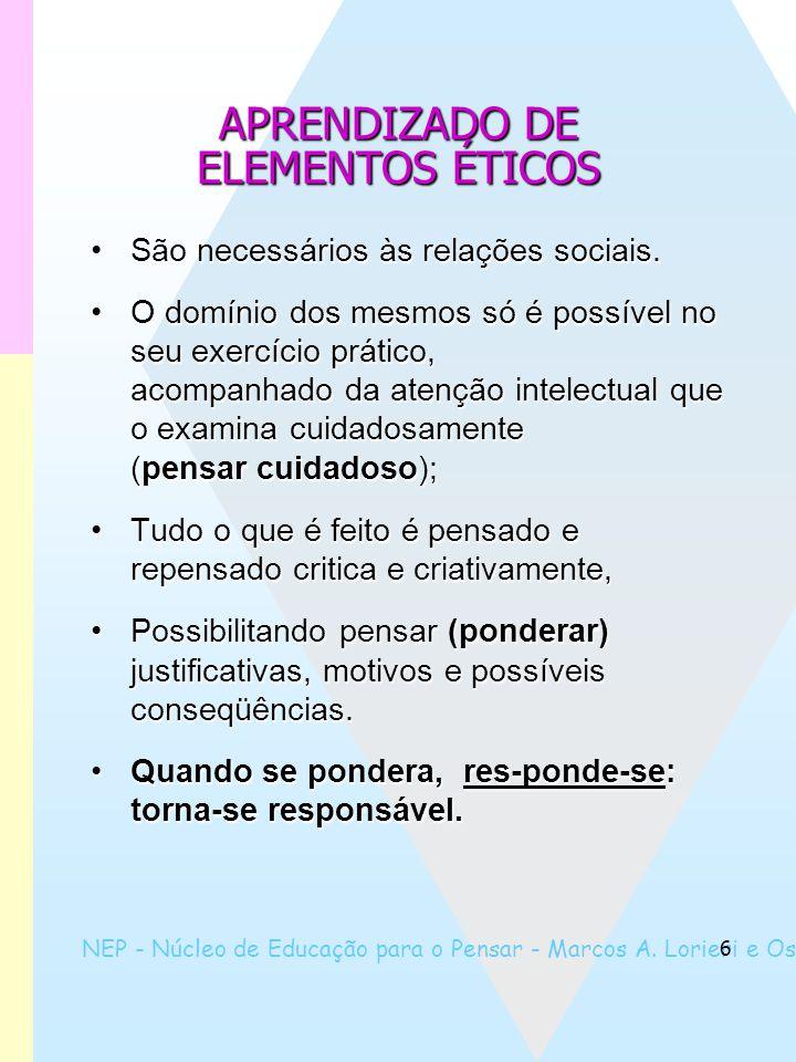 NEP - Núcleo de Educação para o Pensar - Marcos A. Lorieri e Oswaldo Marques 6 APRENDIZADO DE ELEMENTOS ÉTICOS São necessários às relações sociais.São