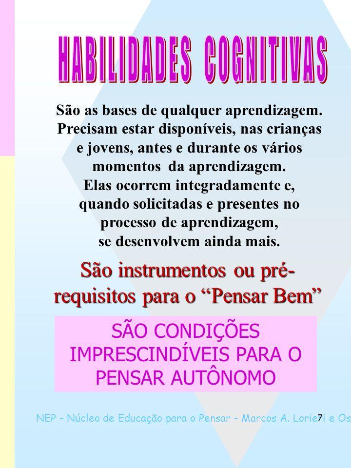 NEP - Núcleo de Educação para o Pensar - Marcos A. Lorieri e Oswaldo Marques 7 São as bases de qualquer aprendizagem. Precisam estar disponíveis, nas