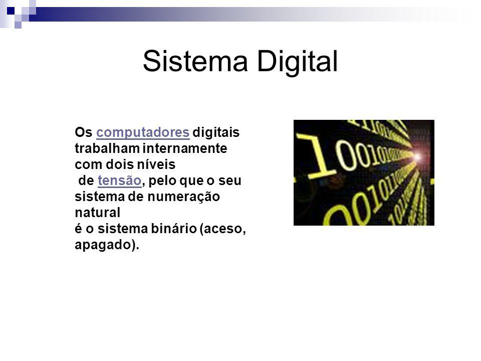 Sistema Digital Os computadores digitais trabalham internamente com dois níveiscomputadores de tensão, pelo que o seu sistema de numeração naturaltensão é o sistema binário (aceso, apagado).