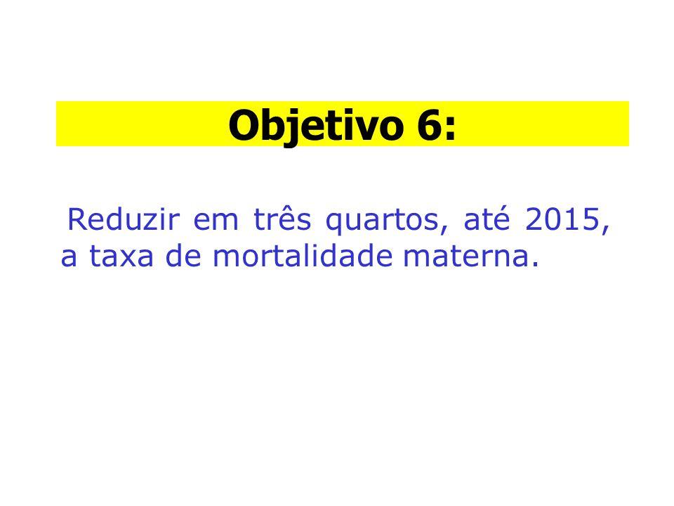 Objetivo 6: Reduzir em três quartos, até 2015, a taxa de mortalidade materna.