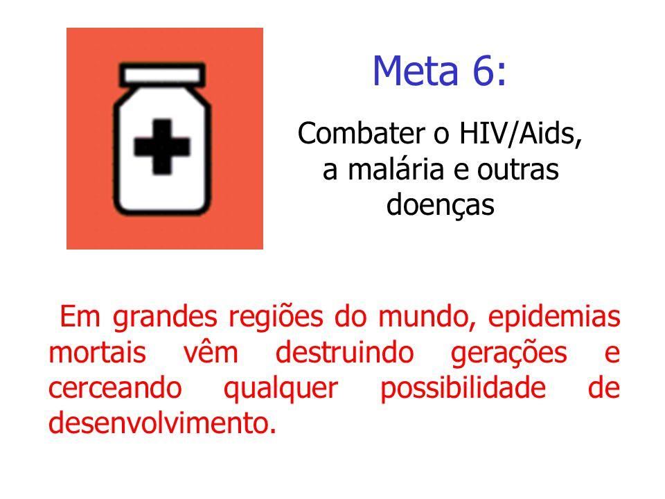 Meta 6: Em grandes regiões do mundo, epidemias mortais vêm destruindo gerações e cerceando qualquer possibilidade de desenvolvimento. Meta 6: Combater