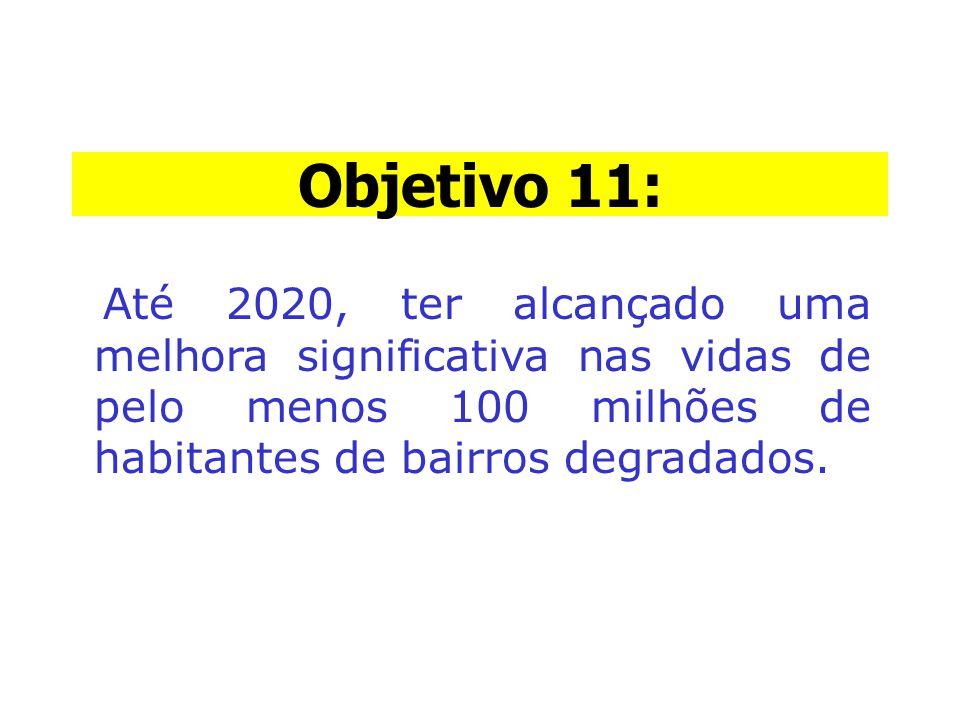 Objetivo 11: Até 2020, ter alcançado uma melhora significativa nas vidas de pelo menos 100 milhões de habitantes de bairros degradados.