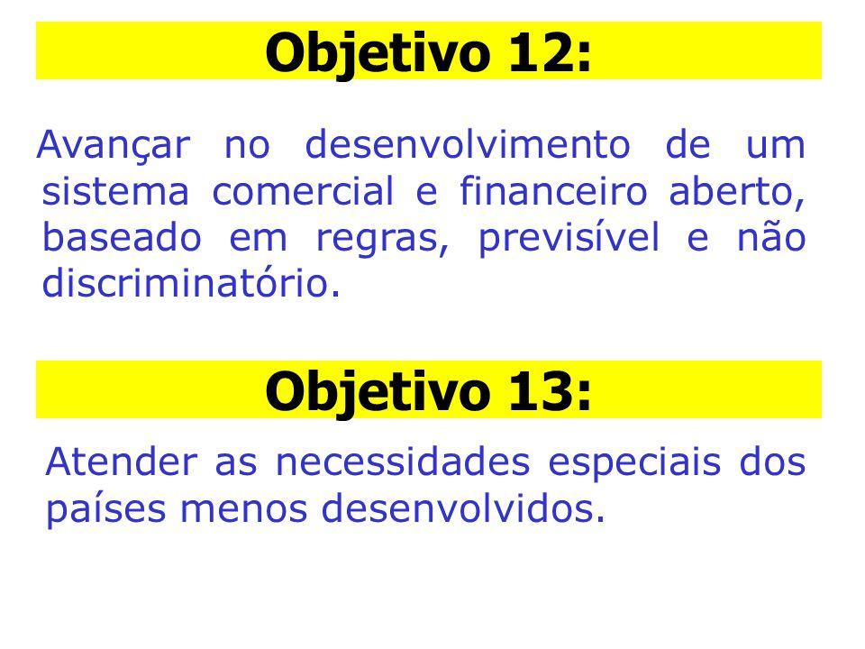Objetiv o 12: Avançar no desenvolvimento de um sistema comercial e financeiro aberto, baseado em regras, previsível e não discriminatório. Objetivo 13
