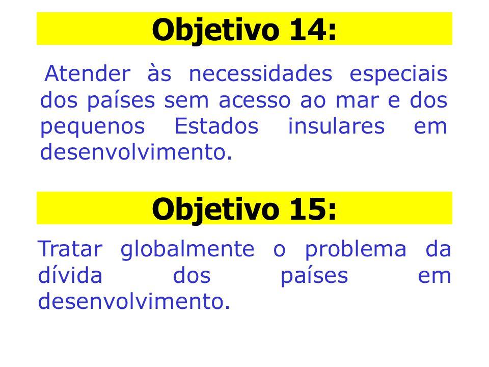 Objetivo 14: Atender às necessidades especiais dos países sem acesso ao mar e dos pequenos Estados insulares em desenvolvimento. Objetivo 15: Tratar g