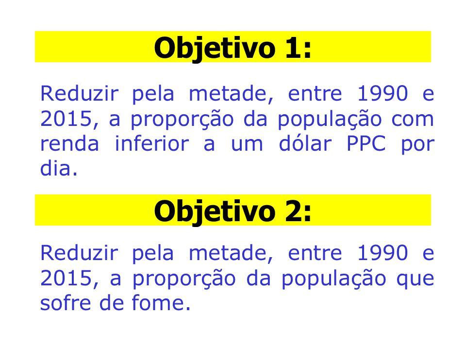 Objetivo 1: Reduzir pela metade, entre 1990 e 2015, a proporção da população com renda inferior a um dólar PPC por dia. Objetivo 2: Reduzir pela metad