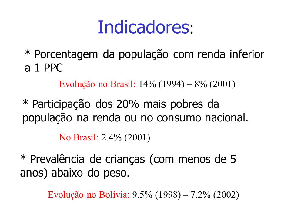 Indicadores : * Porcentagem da população com renda inferior a 1 PPC Evolução no Brasil: 14% (1994) – 8% (2001) * Participação dos 20% mais pobres da p