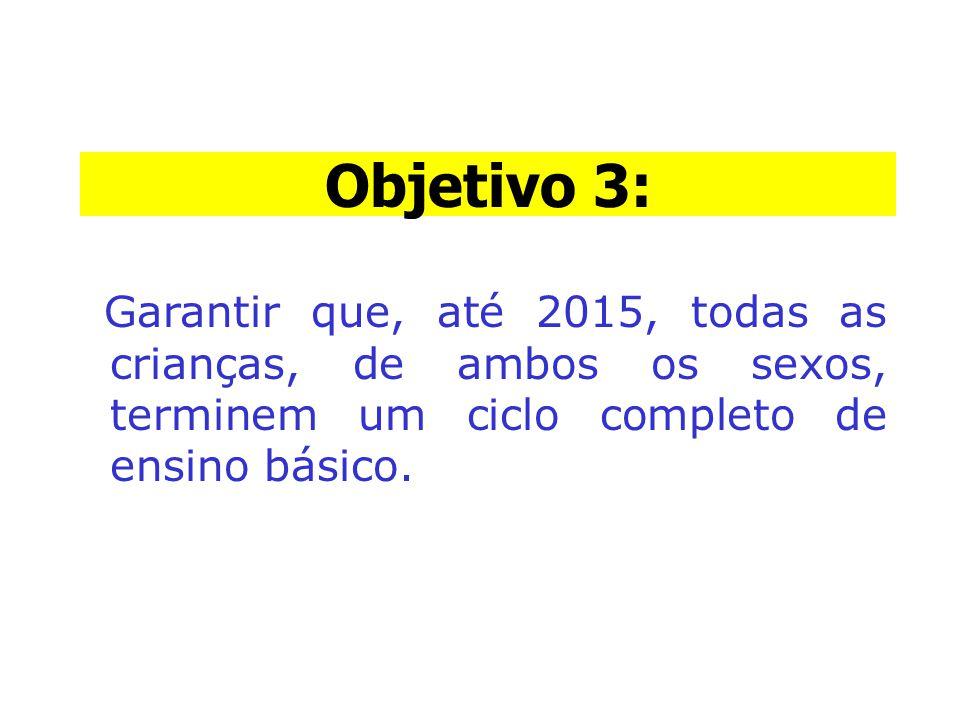 Objetivo 3: Garantir que, até 2015, todas as crianças, de ambos os sexos, terminem um ciclo completo de ensino básico. Objetivo 3: