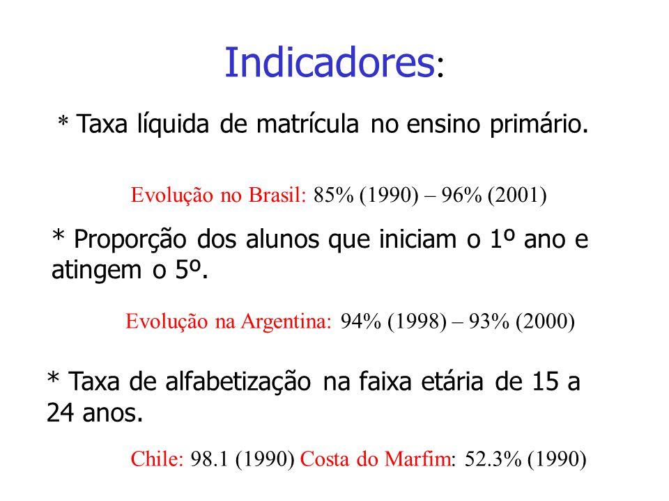 * Taxa líquida de matrícula no ensino primário. Evolução no Brasil: 85% (1990) – 96% (2001) * Proporção dos alunos que iniciam o 1º ano e atingem o 5º