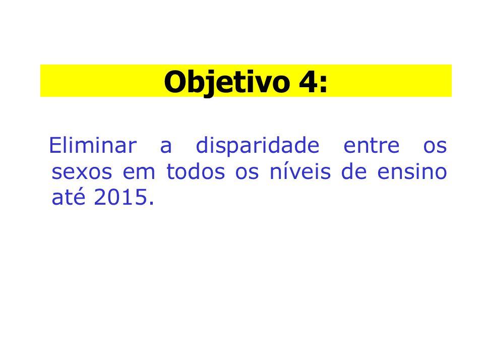Objetivo 4: Eliminar a disparidade entre os sexos em todos os níveis de ensino até 2015. Objetivo 4: