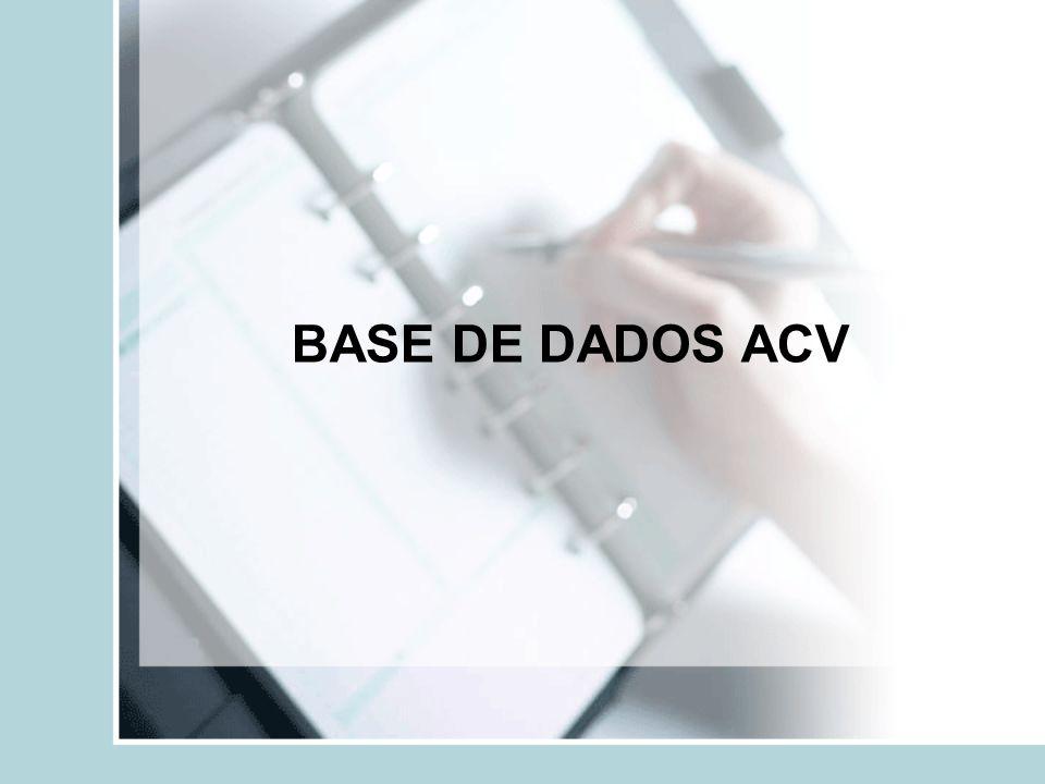 MANUAL DA BASE ACV Entrada de dados; Pesquisa; Base de dados ACV; Dicas de segurança.