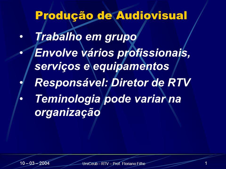 10 – 03 – 2004 UniCeub – RTV – Prof. Floriano Filho 1 Produção de Audiovisual Trabalho em grupo Envolve vários profissionais, serviços e equipamentos