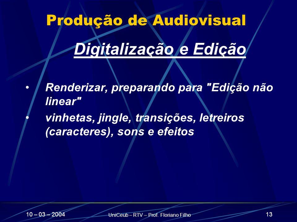 10 – 03 – 2004 UniCeub – RTV – Prof. Floriano Filho 13 Produção de Audiovisual Digitalização e Edição Renderizar, preparando para