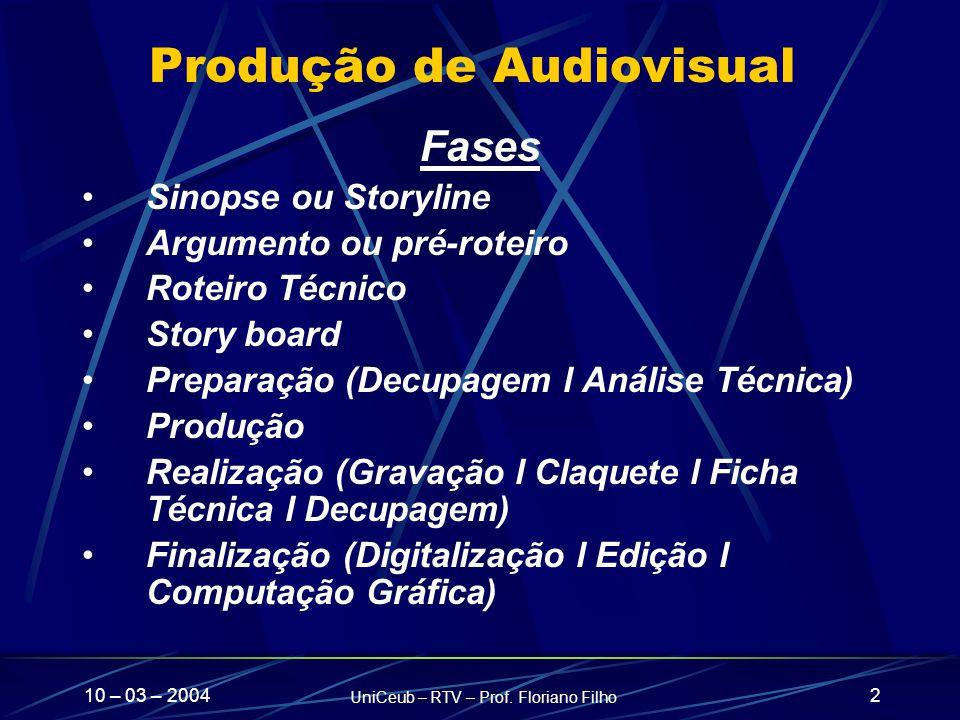 10 – 03 – 2004 UniCeub – RTV – Prof. Floriano Filho 2 Produção de Audiovisual Fases Sinopse ou Storyline Argumento ou pré-roteiro Roteiro Técnico Stor