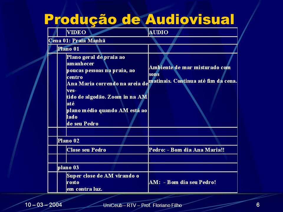10 – 03 – 2004 UniCeub – RTV – Prof. Floriano Filho 6 Produção de Audiovisual