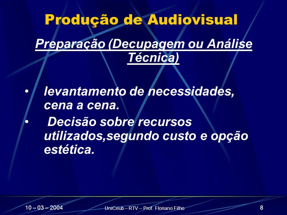 10 – 03 – 2004 UniCeub – RTV – Prof. Floriano Filho 8 Produção de Audiovisual Preparação (Decupagem ou Análise Técnica) levantamento de necessidades,