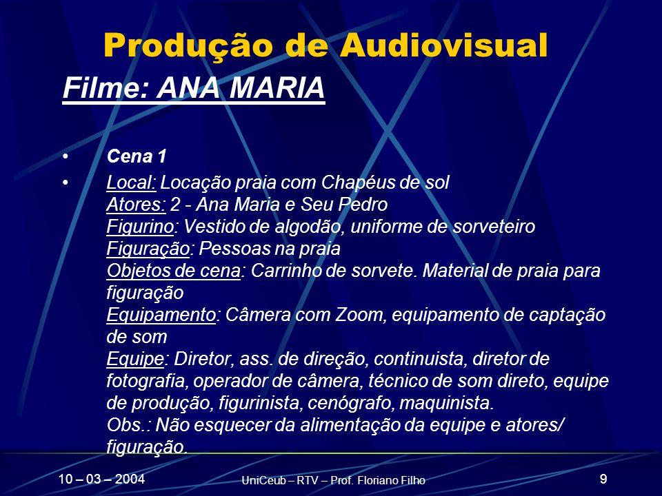 10 – 03 – 2004 UniCeub – RTV – Prof. Floriano Filho 9 Produção de Audiovisual Filme: ANA MARIA Cena 1 Local: Locação praia com Chapéus de sol Atores: