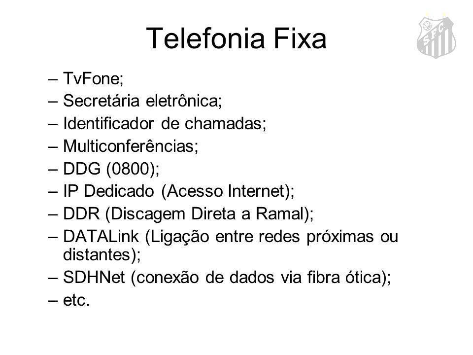 Telefonia Fixa –TvFone; –Secretária eletrônica; –Identificador de chamadas; –Multiconferências; –DDG (0800); –IP Dedicado (Acesso Internet); –DDR (Dis