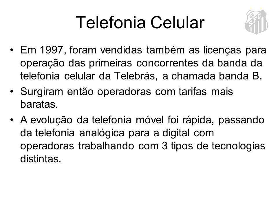 Telefonia Celular Em 1997, foram vendidas também as licenças para operação das primeiras concorrentes da banda da telefonia celular da Telebrás, a cha
