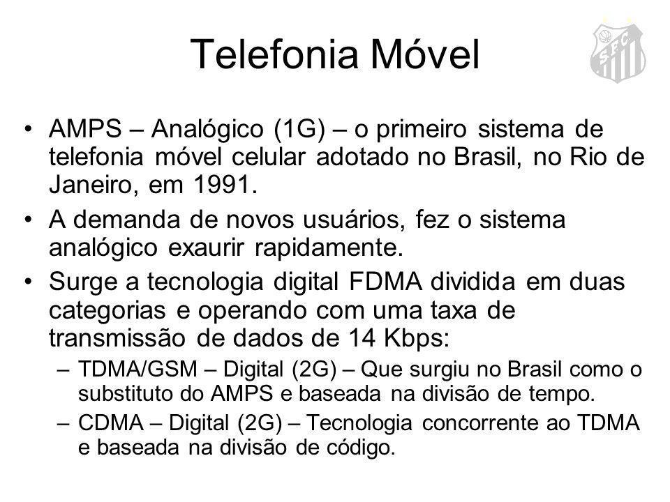 Telefonia Móvel AMPS – Analógico (1G) – o primeiro sistema de telefonia móvel celular adotado no Brasil, no Rio de Janeiro, em 1991. A demanda de novo