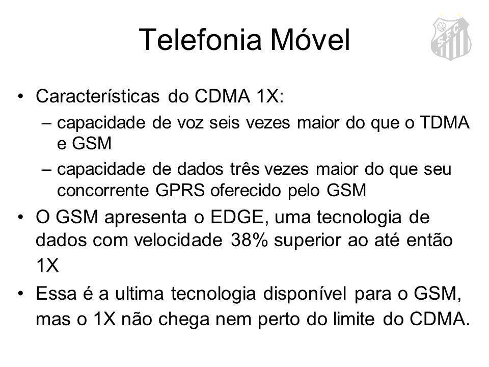 Telefonia Móvel Características do CDMA 1X: –capacidade de voz seis vezes maior do que o TDMA e GSM –capacidade de dados três vezes maior do que seu c