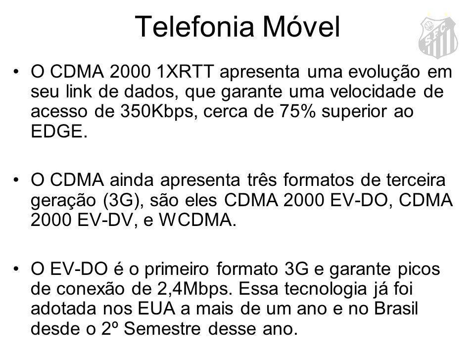 Telefonia Móvel O CDMA 2000 1XRTT apresenta uma evolução em seu link de dados, que garante uma velocidade de acesso de 350Kbps, cerca de 75% superior