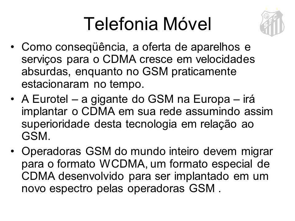 Telefonia Móvel Como conseqüência, a oferta de aparelhos e serviços para o CDMA cresce em velocidades absurdas, enquanto no GSM praticamente estaciona