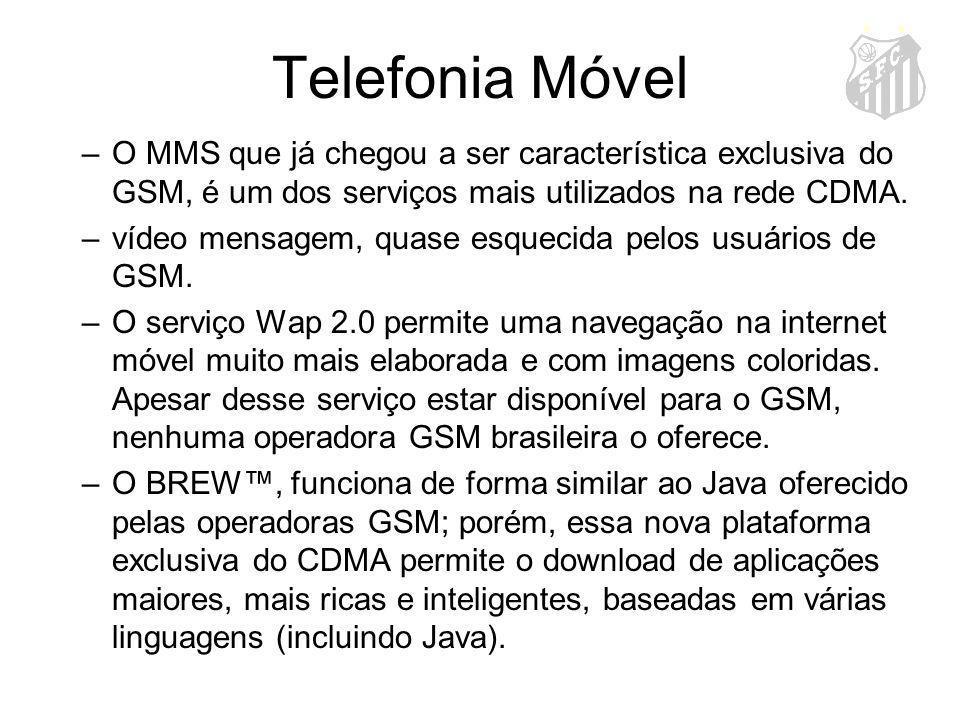 Telefonia Móvel –O MMS que já chegou a ser característica exclusiva do GSM, é um dos serviços mais utilizados na rede CDMA. –vídeo mensagem, quase esq