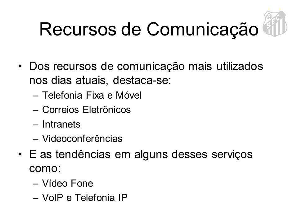 Recursos de Comunicação Dos recursos de comunicação mais utilizados nos dias atuais, destaca-se: –Telefonia Fixa e Móvel –Correios Eletrônicos –Intran