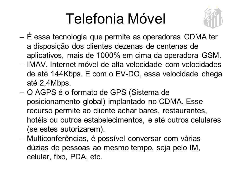 Telefonia Móvel –É essa tecnologia que permite as operadoras CDMA ter a disposição dos clientes dezenas de centenas de aplicativos, mais de 1000% em c
