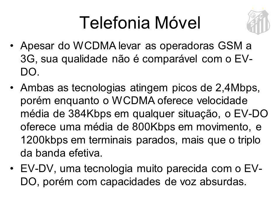 Telefonia Móvel Apesar do WCDMA levar as operadoras GSM a 3G, sua qualidade não é comparável com o EV- DO. Ambas as tecnologias atingem picos de 2,4Mb