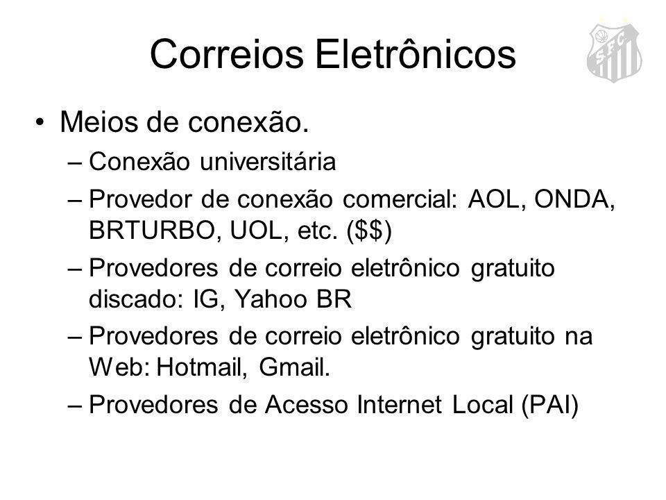 Correios Eletrônicos Meios de conexão. –Conexão universitária –Provedor de conexão comercial: AOL, ONDA, BRTURBO, UOL, etc. ($$) –Provedores de correi