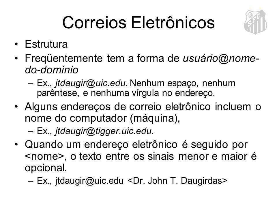 Correios Eletrônicos Estrutura Freqüentemente tem a forma de usuário@nome- do-domínio –Ex., jtdaugir@uic.edu. Nenhum espaço, nenhum parêntese, e nenhu