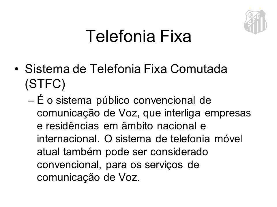 Telefonia Fixa Sistema de Telefonia Fixa Comutada (STFC) –É o sistema público convencional de comunicação de Voz, que interliga empresas e residências