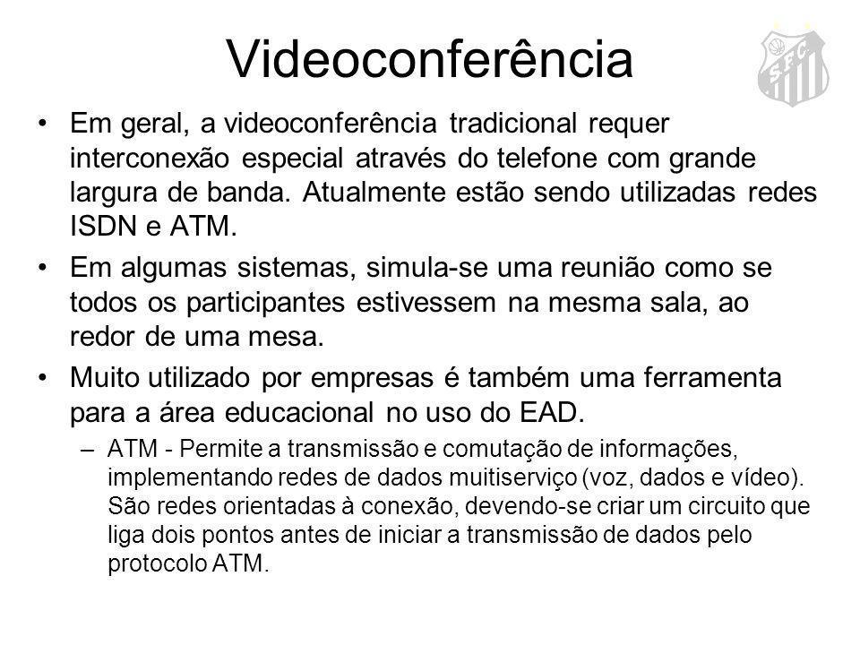 Videoconferência Em geral, a videoconferência tradicional requer interconexão especial através do telefone com grande largura de banda. Atualmente est