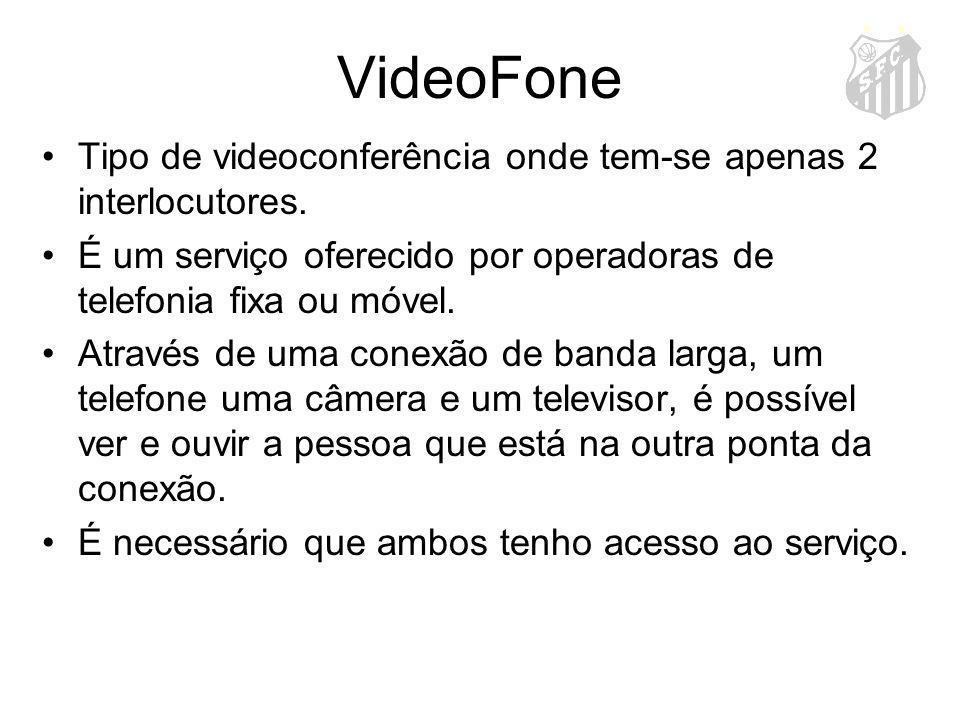VideoFone Tipo de videoconferência onde tem-se apenas 2 interlocutores. É um serviço oferecido por operadoras de telefonia fixa ou móvel. Através de u