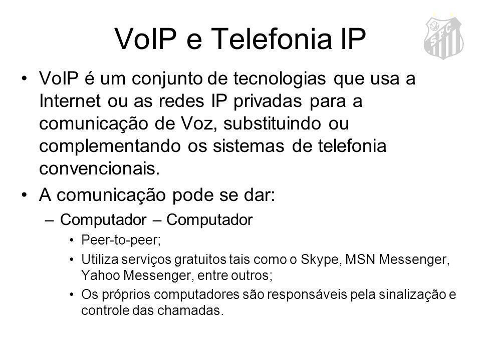 VoIP e Telefonia IP VoIP é um conjunto de tecnologias que usa a Internet ou as redes IP privadas para a comunicação de Voz, substituindo ou complement