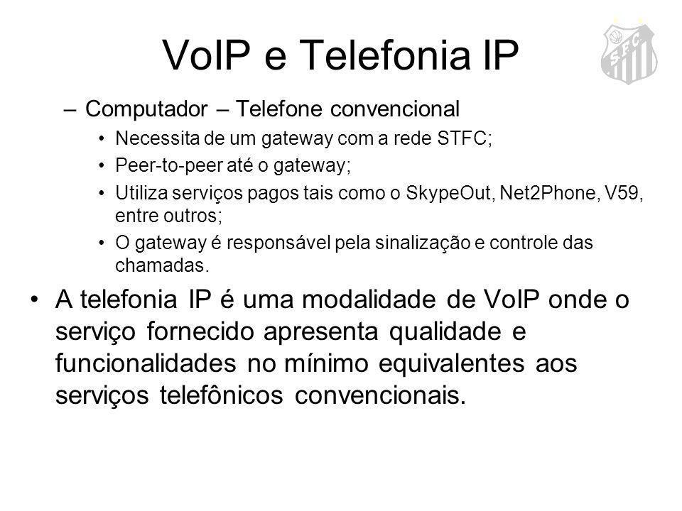 VoIP e Telefonia IP –Computador – Telefone convencional Necessita de um gateway com a rede STFC; Peer-to-peer até o gateway; Utiliza serviços pagos ta